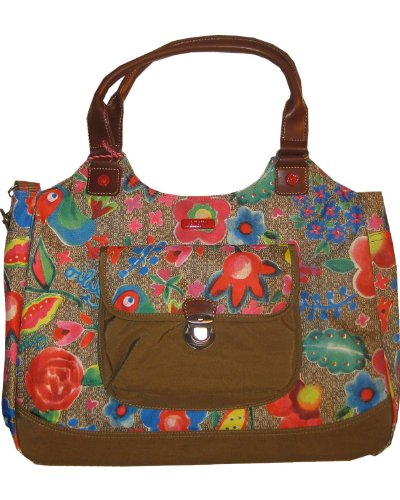 Oilily Funky Flowers Carry All Khaki