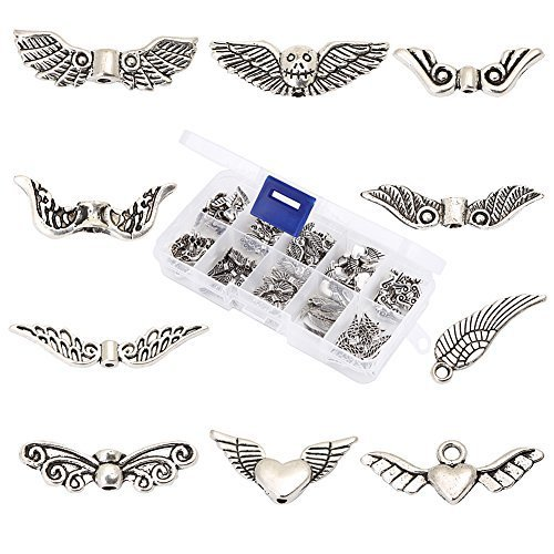 HYBEADS 100Pcs Assorted 10 Styles Tibetan Silver Angel Wing Spacer Charm Beads for Jewelry Making Findings Value Pack Mix Lot with (Wings Charm Bead)