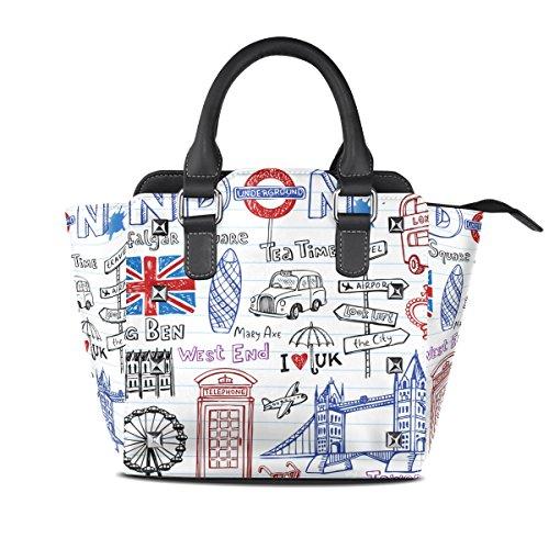 Pu A Donne In Pelle Multicolore Borsa Londra Coosun Doodles Medio Superiore Tracolla Maniglia Crossbody 1XtwnxWAqU