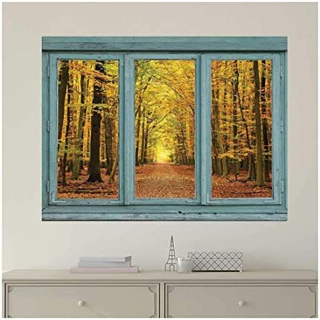 Vintage Teal Window Looking Out Into an Orange Forest During The Fall - Wall Mural, Removable Sticker, Home Decor - 24x32 inches