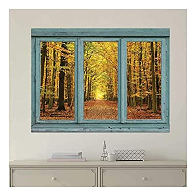 Gorgeous Technique, Original Creation, Vintage Teal Window Looking Out Into an Orange Forest During The Fall Wall Mural