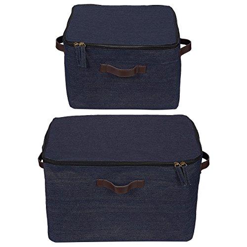 Bag Denim Toy (Juvale Fabric Storage Bins - 2-Pack Zippered Storage Box, Storage Cube Baskets Handles - Home, Household Item Decorative Organizer Clothes, Shelves, Magazines, Books, Toys - Dark Denim Blue)