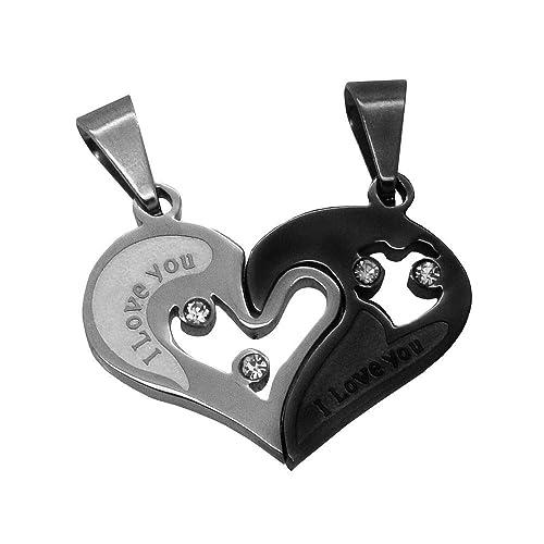 2 Piezas dos Mitades Colgante Corazón del Amor I Love You para Collares Pareja Color: Plata-Negro: Amazon.es: Joyería