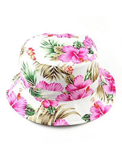 NYFASHION101 Fashionable Unisex Satin Lined Printed Pattern Cotton Bucket Hat, Pink Floral