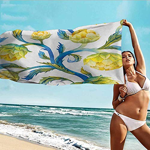 TT.HOME Bath Towels,Artichoke Watercolor Abstract Flowers Natural Foods Organic Way of Life,Soft Fast Drying Travel Gym Washcloths,W35x12L, Violet Blue and Earth Yellow ()