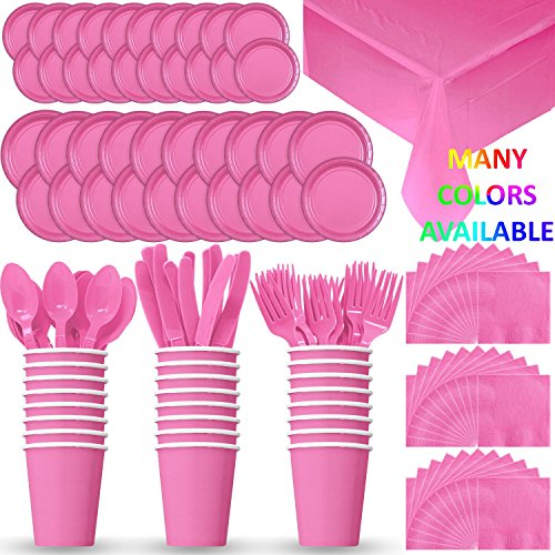 Disposable Paper Dinnerware for 24 - Hot Pink - 2 Size plates, Cups, Napkins , Cutlery (Spoons, Forks, Knives), and tablecovers - Full Party Supply (Hot Pink Spoons)