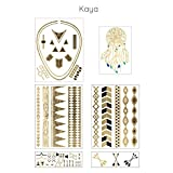 Kaya – Metallic Gold Jewelry Temporary Tattoo Aztec Theme and Dreamcatcher