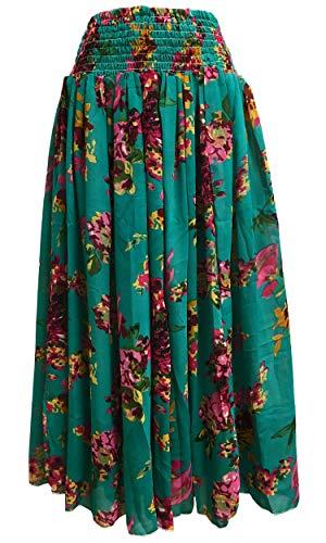 (Missy Plus Smocked Waist Chiffon Georgette Sari Fashion Long Skirt Leena (#33 Teal Floral))