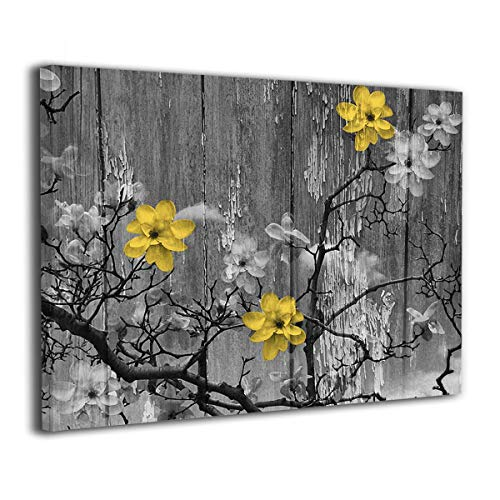 Yellow Grey Rustic Modern Floral Wall Art Painted Canvas Picture Prints for Home Decorations for Living Room Bedroom Abstract Artwork ()