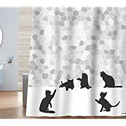 Cat Shower Curtain Black Silhouette And Gray Mosaic Fabric Grey White