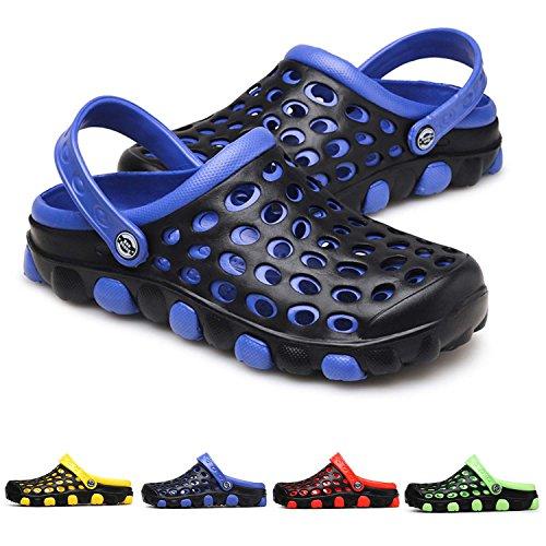 Lightweight Slip Sandals - PHILDA Men's Breathable Water Sandals Lightweight Mesh Quick Drying Garden Clog Shoes Non Slip Slippers Blue 42