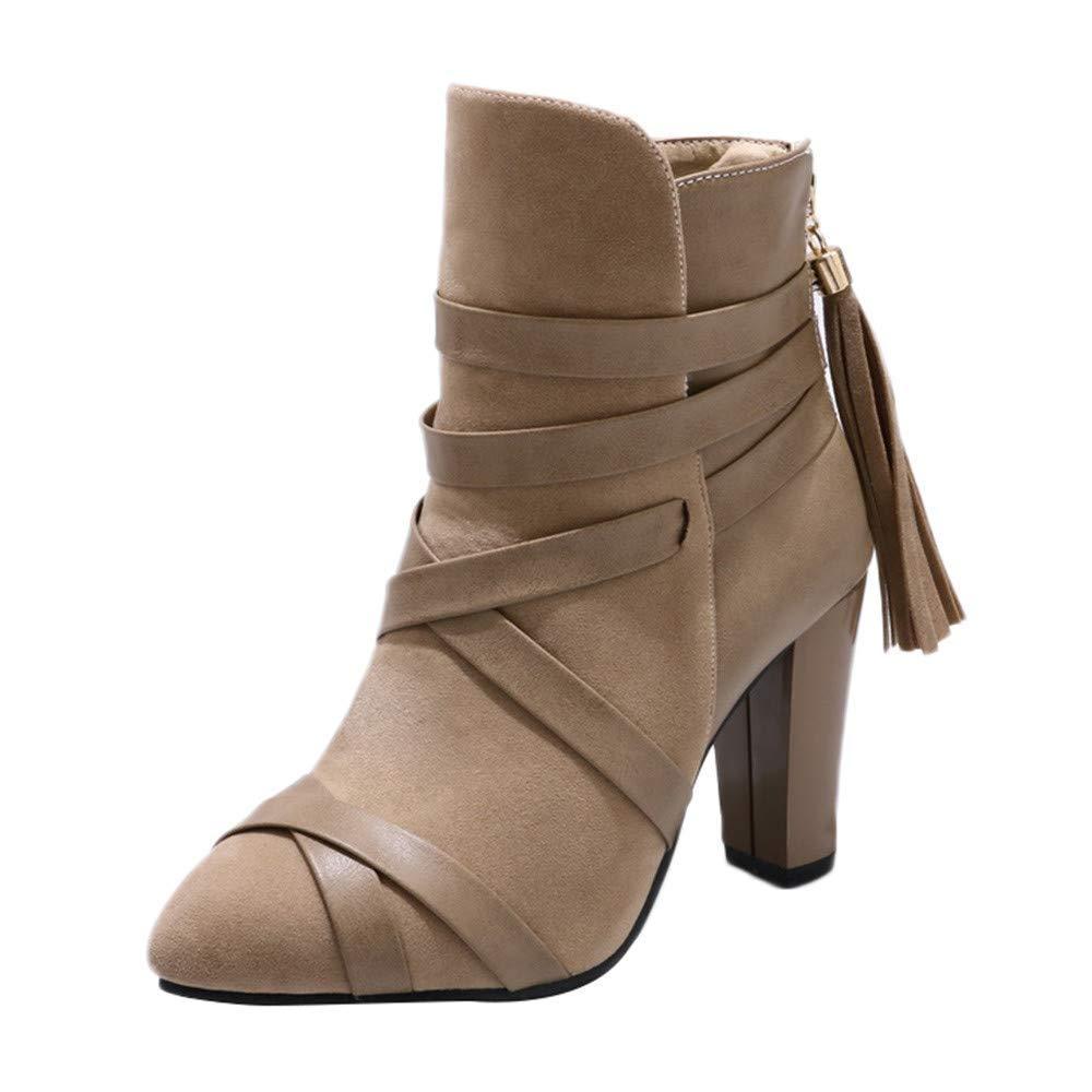 Fuxitoggo damen Quaste Schuhe Volltonfarbe Peeling High Heel Rutschfeste Spitz Martin Stiefel (Farbe   Beige, Größe   UK-5.5)