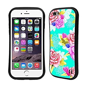 Head Case Designs Aqua Painted Flowers Hybrid Gel Back Case for Apple iPhone 6 4.7 6577400M44327526