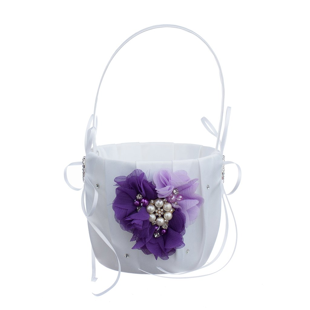 MagiDeal Romantic Wedding Party Bowknot Faux Pearl Flower Girl Basket With Heart Shape Decor - Purple