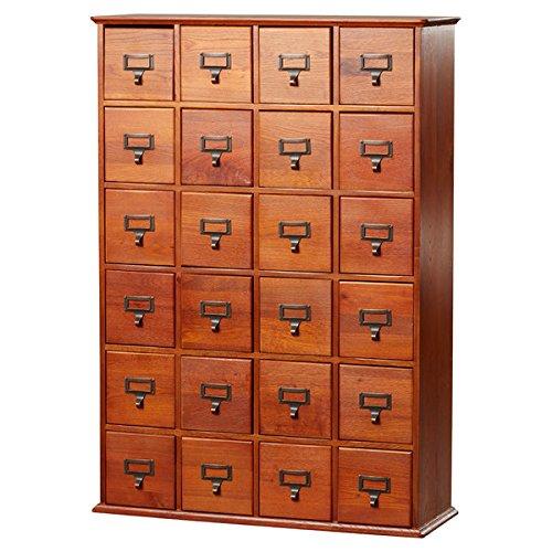 Multimedia Storage Cabinet Library Card Catalog Sewing Apothecary Craft Organizer Wood (Walnut)