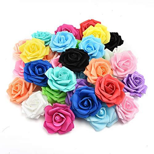 fake flowers heads in Bulk Wholesale Artificial PE Foam Roses Flowers for Home Wedding Decoration Scrapbooking Handmade Kissing Balls 20pcs 7cm (Multicolor) -