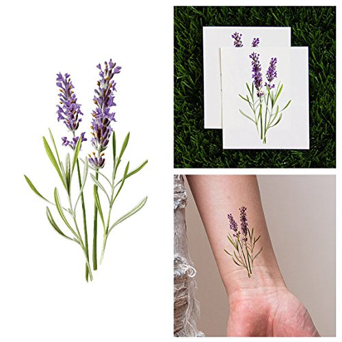 Temporary Tattoo Purple Package (Tattify Purple Flower Temporary Tattoo - Lavish Lavender (Set of 2))
