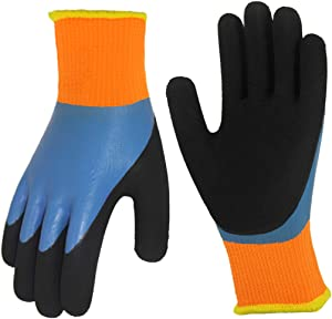 Cold Weather Work Gloves 2 Pairs, Polar Fleece Liner Thermal Gloves, Double Coating Superior Grip Waterproof for Outdoor Fishing Garden Construction Ice Snow Activities