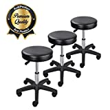 KOVAL INC. 3 pcs. Salon Rolling Hydraulic Black Leather Stools (3) For Sale
