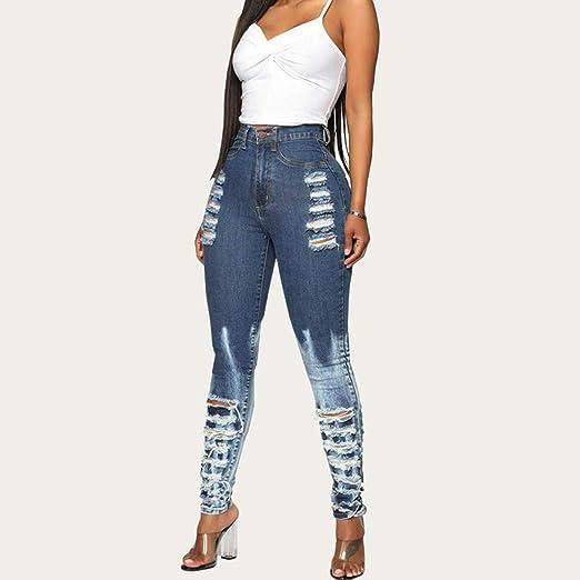 New Womens Stretchy Denim Print Denim Look Ripped Skinny Legging 4064-4