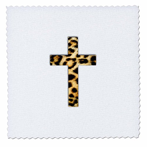 Gold Square Crucifix (3dRose InspirationzStore Christian Designs - Christian Cross with Leopard spot pattern - faux cheetah animal print - 10x10 inch quilt square (qs_185472_1))