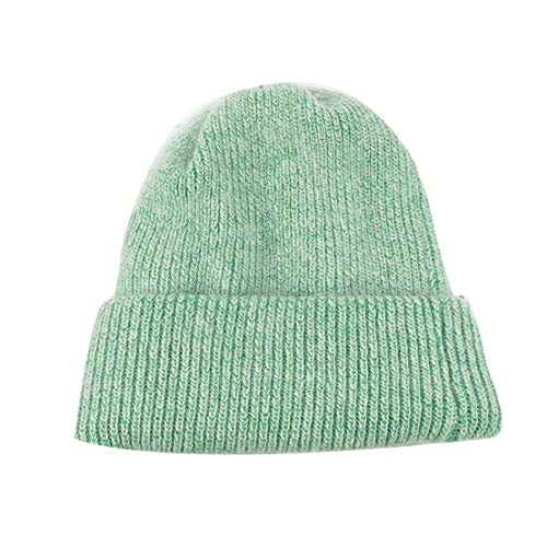 Women Rabbit Cashmere Knitted Beanies Thick Warm Vogue Ladies Wool Angora Female Beanie Hats Light Green