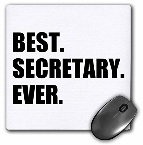 3dRose Best Secretary Ever Fun Gift for Talented Secretaries Black Text Mouse Pad (mp_185020_1)