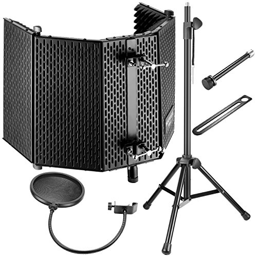 Neewer Professional Microphone Studio Recording Accessories Include: NW-1 Microphone Isolation Panel, Wind Screen Bracket Stand and Pop Filter for Vocal Acoustic Recording and Podcasting (Best Pop Filter For Vocals)