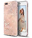 iPhone 7 Plus Case,iPhone 8 Plus Case,Spevert Marble Pattern Hybrid Hard Back Soft TPU Raised Edge Ultra-Thin Shock Absorption Protective Case for iPhone 7 Plus/iPhone 8 Plus - Rose Gold