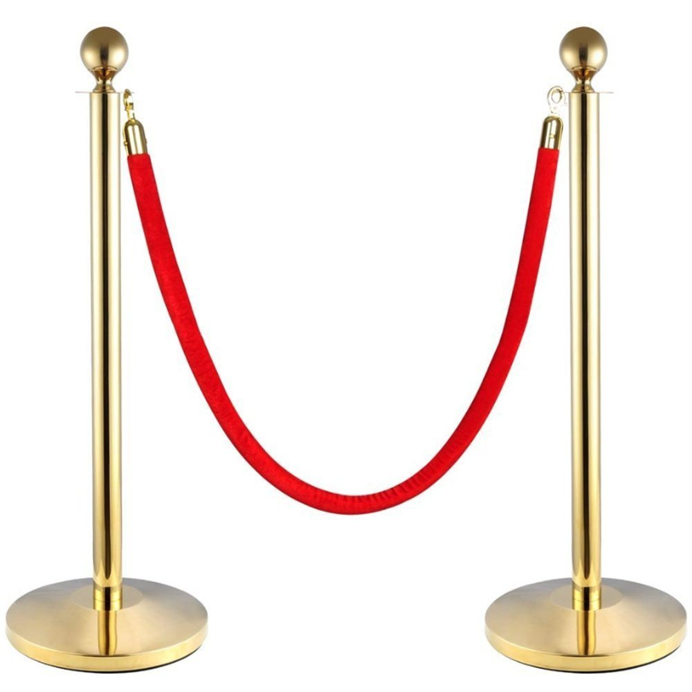 Red Velvet Stanchion Rope Crowd Control Rope Barrier with Gold Color Plated Hooks, 60-inch 4.5 Feet
