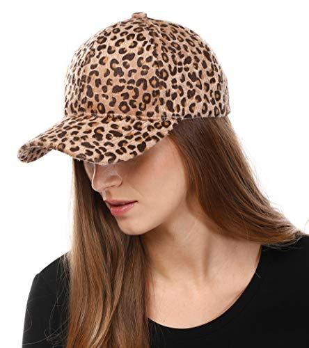 (Me Plus Women Animal Pattern Faux Fur Calf Hair Feel Baseball Cap Hat (Leopard-Beige))