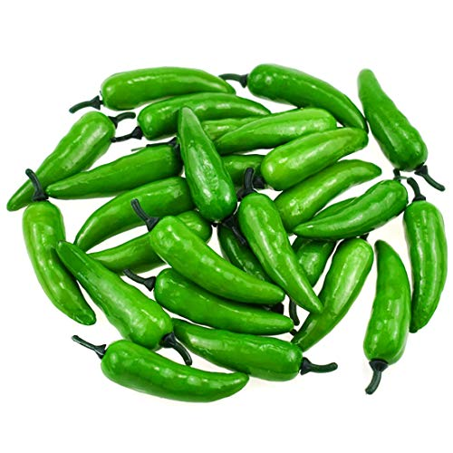 Hagao Fake Chili Green Pepper Artificial Vegetables Lifelike Simulation Fake Hot Chilis for Home Kitchen Decoration Teaching Aids 50 pcs ()