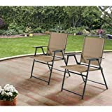Mainstays Pleasant Grove Sling Folding Chair, Set of 2 (Tan)