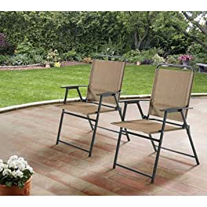 Mainstays Pleasant Grove Sling Folding Chair Set Of 2 Tan Pat