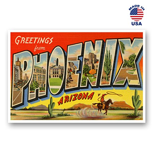 GREETINGS FROM PHOENIX vintage reprint postcard set of 20 identical postcards. Large letter Phoenix, Arizona city and state name post card pack (ca. 1930's-1940's). Made in (Arizona Postcard)