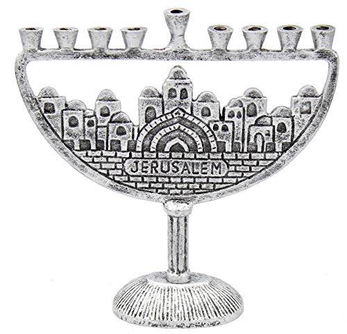 Hanukkah-Menorah-Jerusalem-Old-City-Antique-Silver-Finish