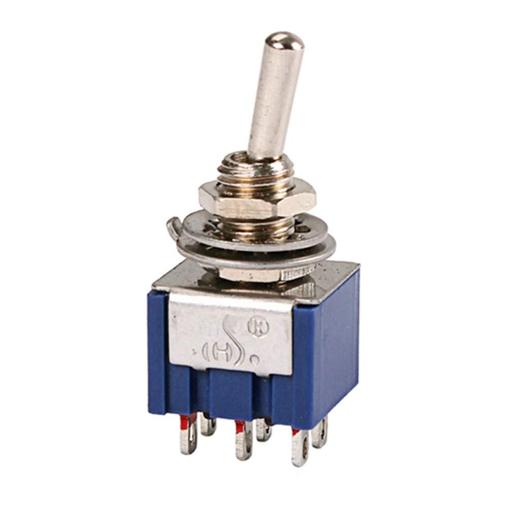 azul SUPVOX 6 pies AC ON-ON Interruptor de palanca de bloqueo de 2 posiciones para partes de guitarra 6A 125V