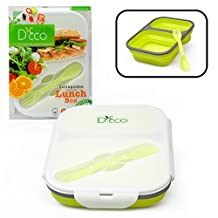 Silicone Collapsible Lunch Box with Two Compartments in Green By D'Eco