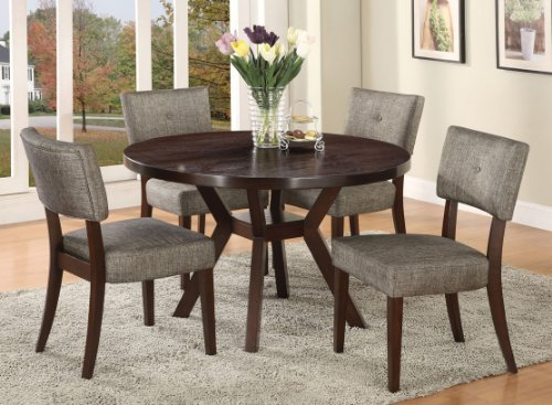 'Acme Furniture Top Dining Table Set Espresso Finish Drake Collection 4 Chairs' from the web at 'https://images-na.ssl-images-amazon.com/images/I/51y0g0BuSgL.jpg'
