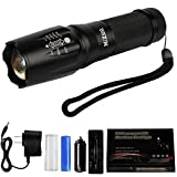 MIZOO Flashlight LED Torch Classic Zoomable Ultra Waterproof Rechargeable Flashlights Set