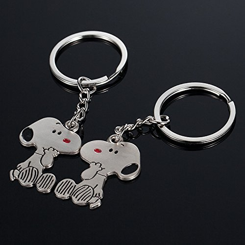 HaoLi Creative Snoopy Shape Couple Metal Keychain/Key Ring 1pair
