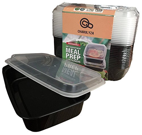1 Compartment Meal Prep Containers by Charulyza- 15 pack- 32 oz Premium Lunch Containers, Food Storage Bento Box, BPA free, Leak Resistant, Reusable, Stackable, Freezer Safe, Recyclable & Microwavable