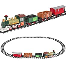 Kissemoji Classic Train Set For Kids With Music and Lights Battery Operated Railway Car