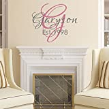 """Wall Decal Decor Family Name Wall Decal - Established Year- Personalized Lettering - Home Decor - Custom Vinyl Decal - Wedding Gift(22""""tall,customize color)"""