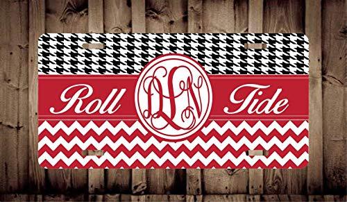 Fhdang Decor Personalized Alabama Car Tag/New Car Gift/Custom Car Plate/Chevron Car Tag/Monogrammed Car Tag/Vanity Car Tag/Front Car Tag, 6