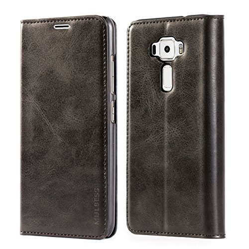 Asus ZenFone 3 ZE520KL Case,Mulbess PU Leather Wallet Case With Kick Stand for Asus ZenFone 3 [5.2 inch],Black