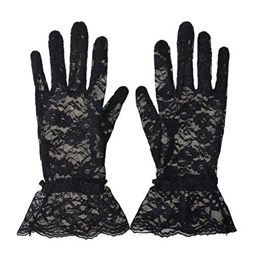 ギャング硬化する禁止夏の女性の短いレース手袋抗紫外線日の保護完全な指の手袋屋外の運転手袋レースのフリル(ブラック)とパーティーウェディンググローブプロム