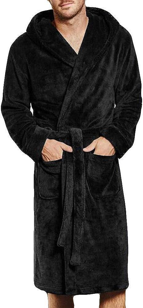 DICPOLIA Mens Long Sleeve Plush Bathrobe Sleepwear Nightwear Flannel S-L5
