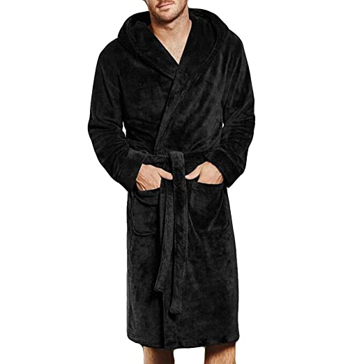 Clearance WUAI Mens Winter Warm Lengthened Coralline Plush Shawl Bathrobe Long Sleeved Robe Coat(Black