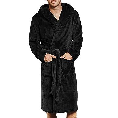 SUJING Men s Fleece Bathrobe Long Shawl Collar Plush Robe Plush Shawl  Kimono Bathrobe S-5XL 82be28bcc